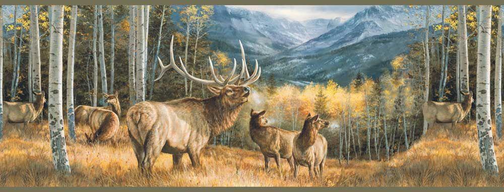 Elk Wallpaper Border Wildlife art, Wildlife paintings, Art