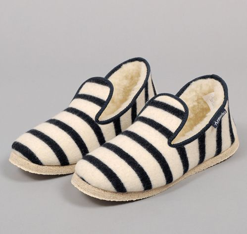 """Lames Rayes"" Wool Slippers, Natural with Navy Stripes    - Handmade in a fourth generation family-owned factory  - 100% wool    Made in France (Brittany)"