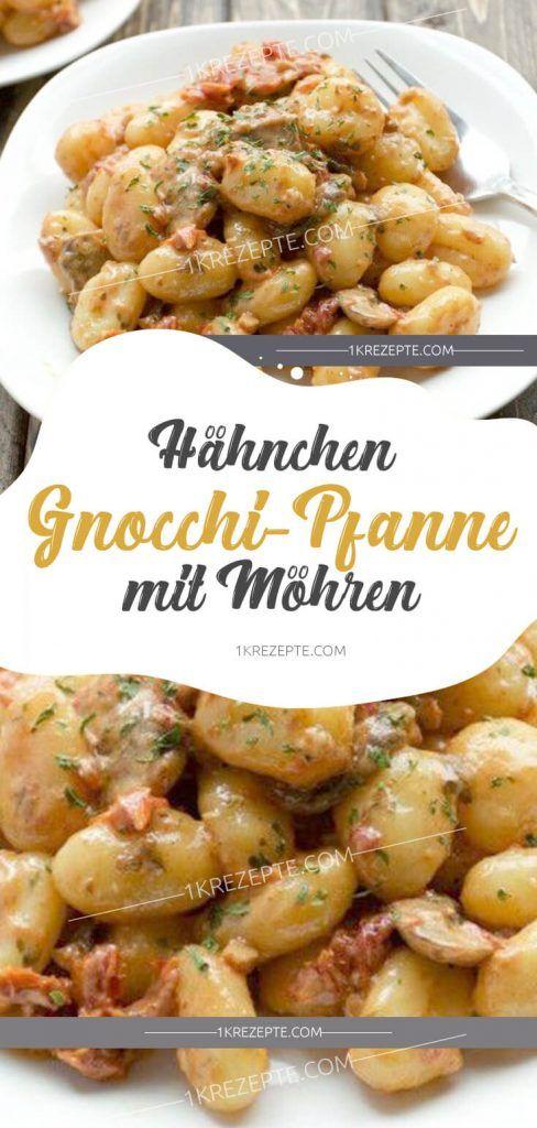 Hähnchen-Gnocchi-Pfanne mit Möhren #Hähnchen #Gnocchi #Pfanne #Möhren #chickenalfredo