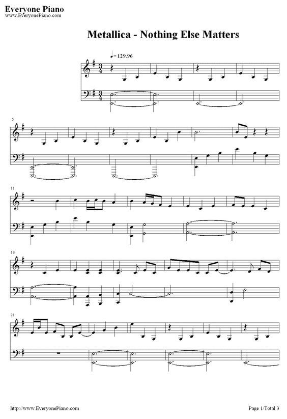 Free Nothing Else Matters Metallica Sheet Music Preview 1 Mdels