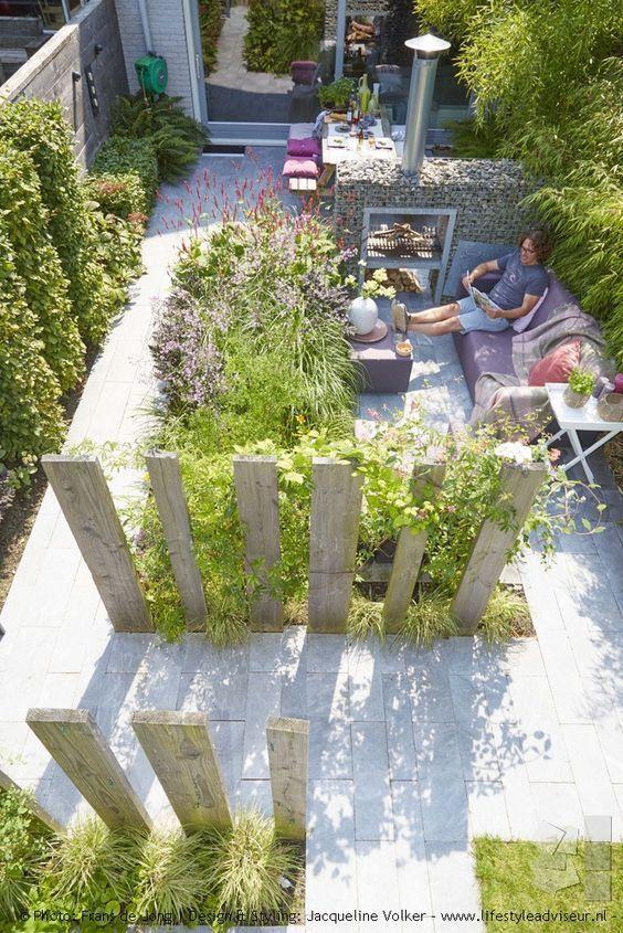 Mediterrane Gartengestaltung, Sitzgelegenheiten, Sichtschutz Holz - sichtschutz garten