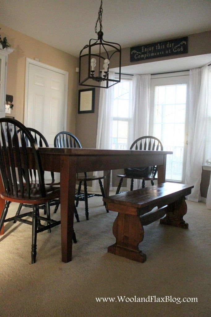 Dining table with bench seating httpwwwwoolandflaxblogcom