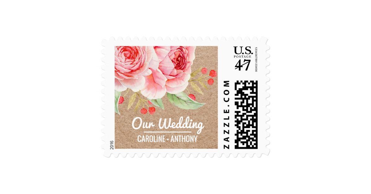 Watercolor Floral design Wedding Postage Stamps Watercolor