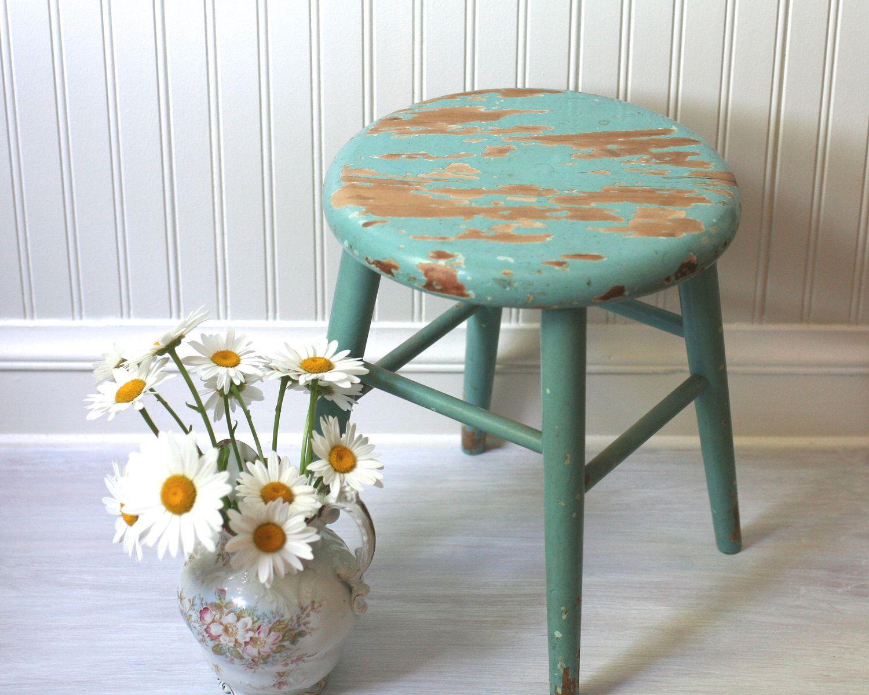 Aqua wooden stool primitive vintage wood stools