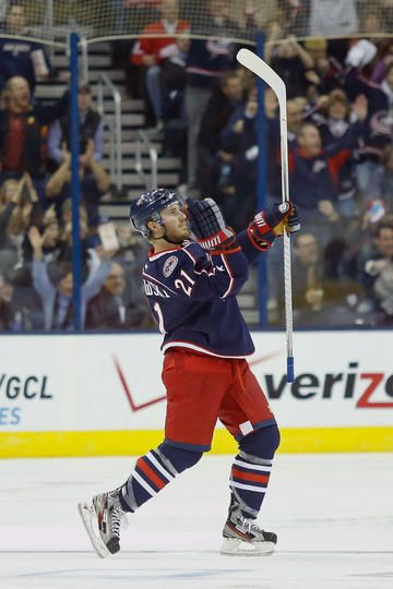 Celly. Blue Jackets vs. Red Wings - 01/21/2013 - Columbus Blue Jackets - Photos @Nationwide Arena