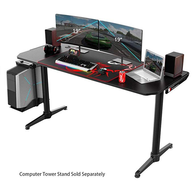 Eureka Ergonomic I60 Gaming Desk - PC Gaming Desk, Computer Gaming Desk - Carbon Fiber Texture Desktop Review #gamingdesk