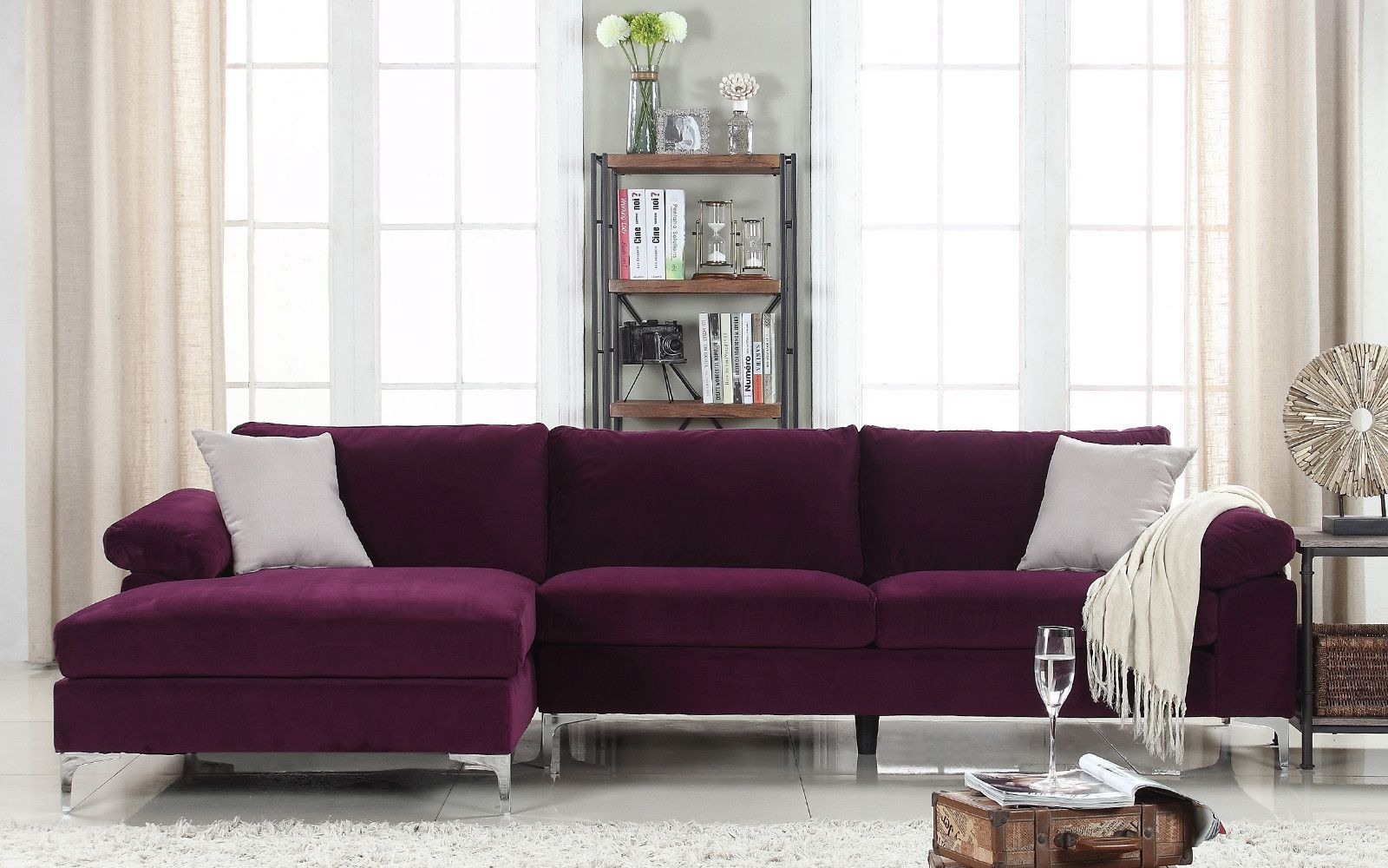 Furniture Sectional Sofas Aidan Velvet Sectional Sofas