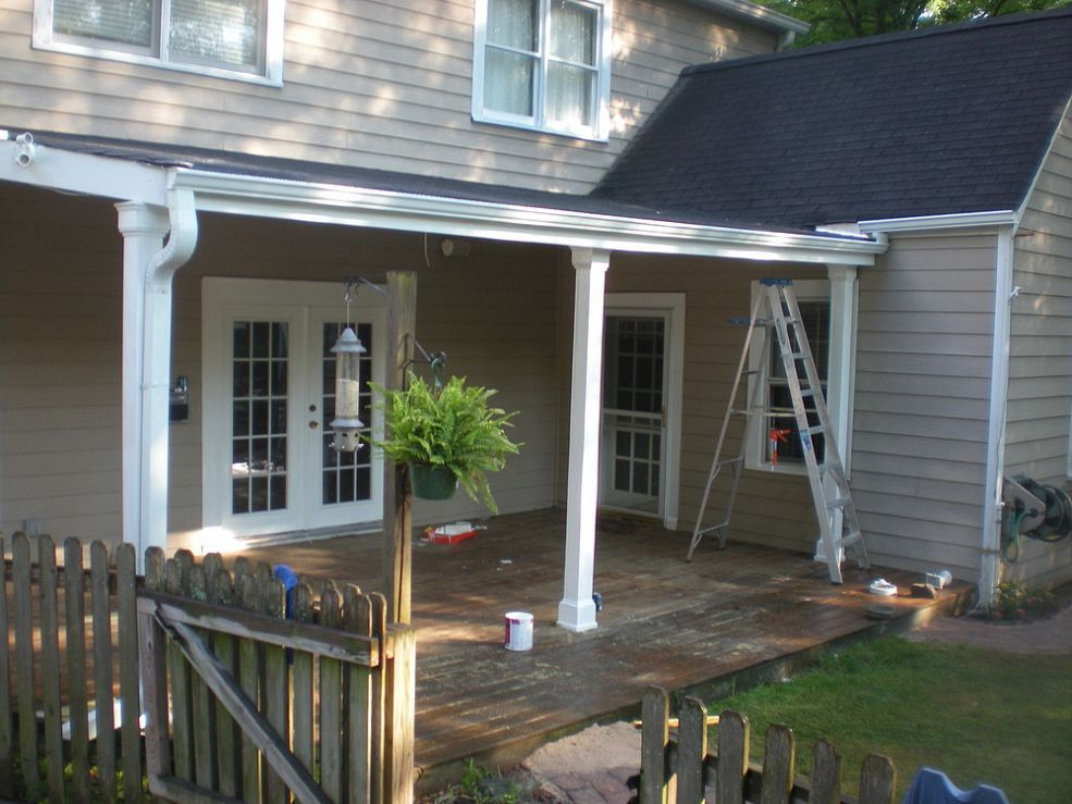new roof over deck with columns and beadboard ceiling. Black Bedroom Furniture Sets. Home Design Ideas