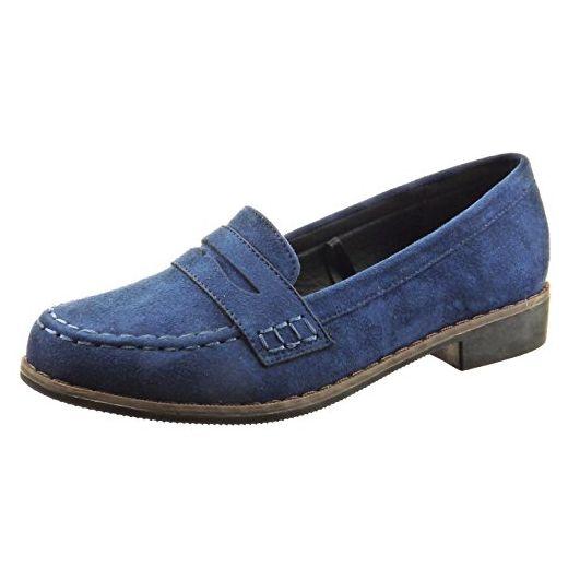 Sopily damen Mode Schuhe Mokassin Fertig Steppnähte Blau