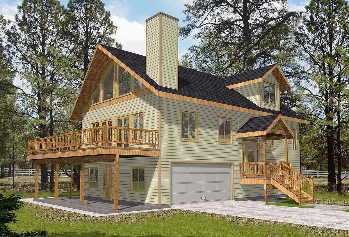 Plan 35305GH 3Bed Home Plan with Drive Under Garage A