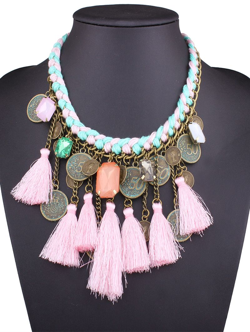 Faux Gem Coin Tassel Necklace #jewelry, #women, #men, #hats, #watches, #belts, #fashion