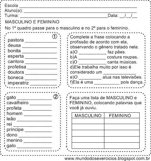 Resultado De Imagem Para Lista Masculino E Feminino Estudos