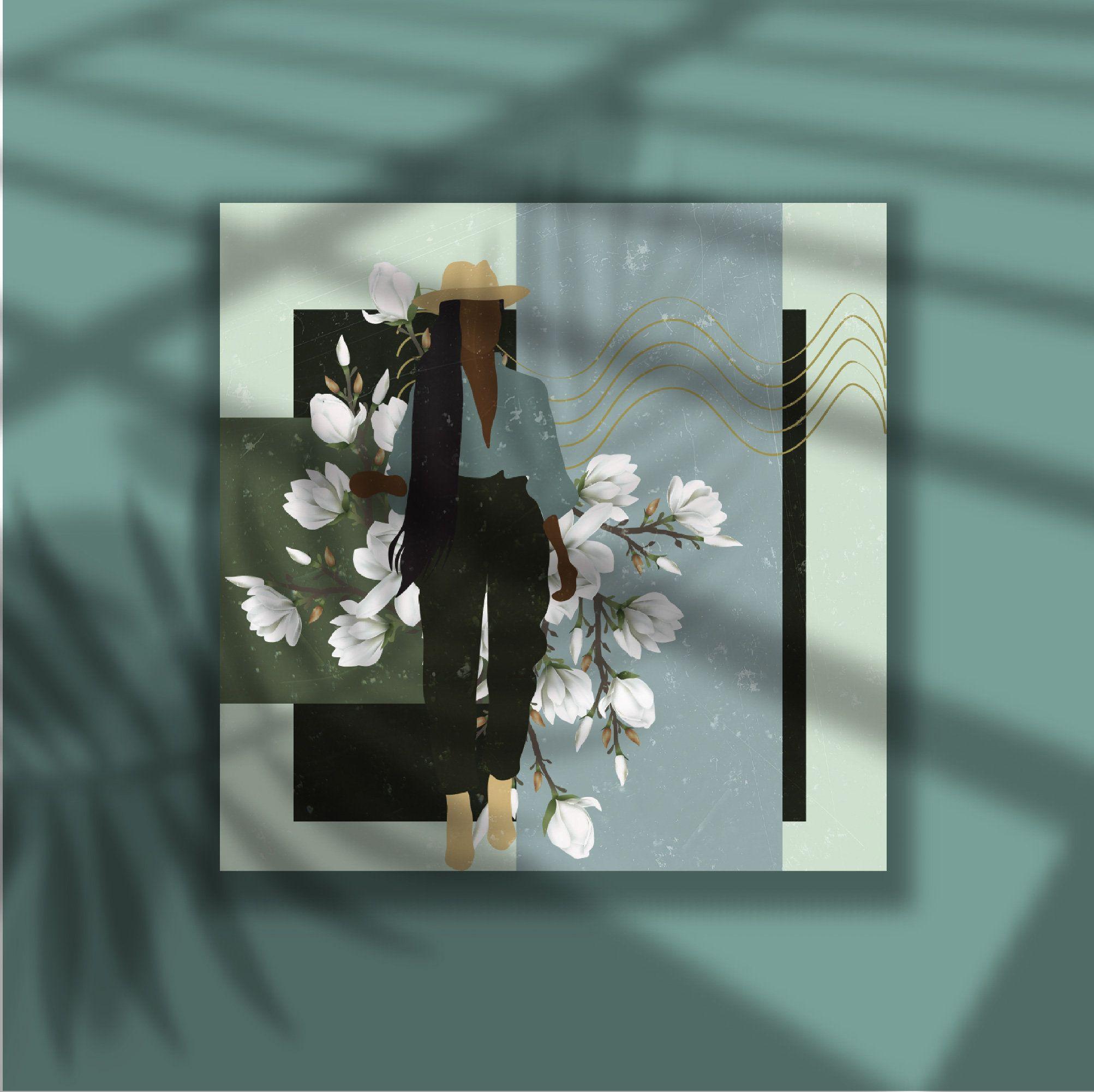 Safari//woman illustration//green color palette// art ...