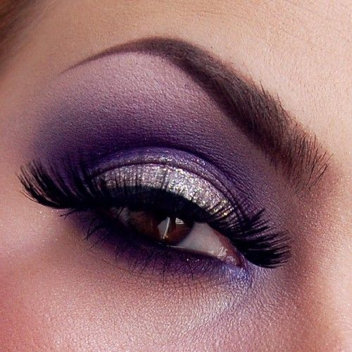 Silver glitter on the lid, purple on the lower lashline and in the crease. Purple eyeshadow is great for brown eyes.