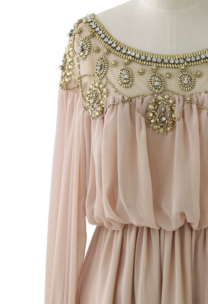 d774ca3b159b Goddess Beads Embellished Chiffon Maxi Dress in Pink - Maxi - Dress - Retro,  Indie and Unique Fashion
