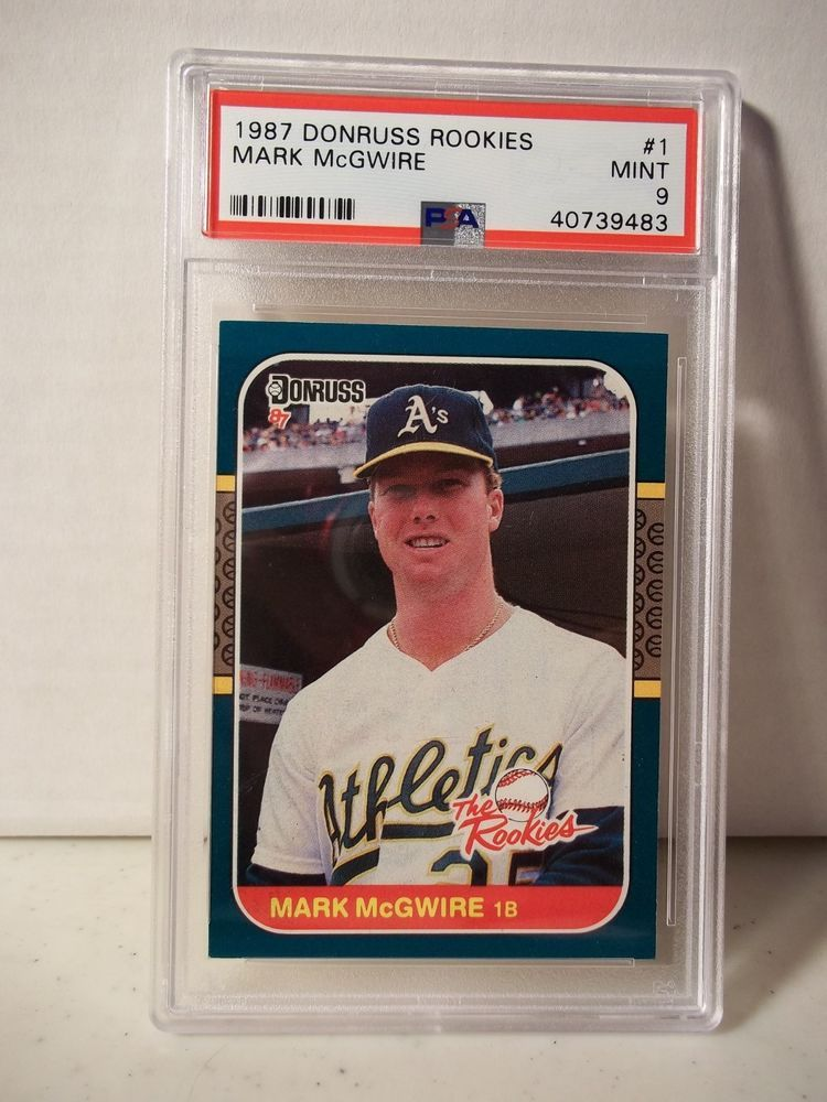 1987 donruss rookies mark mcgwire rc psa mint 9 baseball