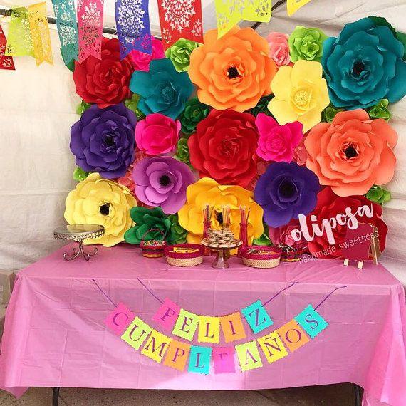 4x6 Fiesta Paper Flower Backdrop Wall Candy Buffet by ...