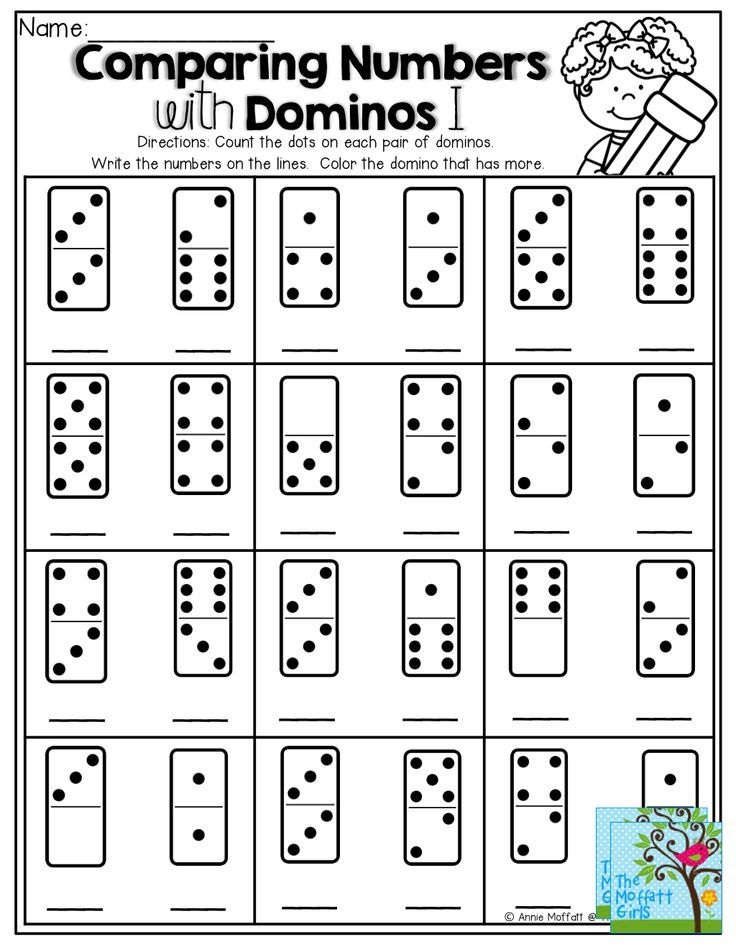 Comparing Numbers Count The Dots On The Domino Write The Number