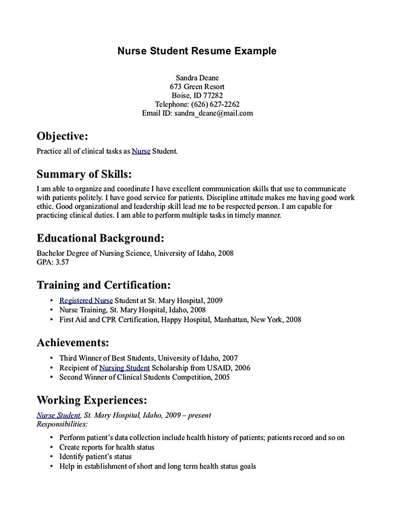 examples of nursing student resumes template examples of nursing student resumes