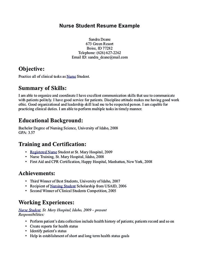 Nursing Student Resume Samples And Tips Student Nurse Resume Nursing Resume Template Registered Nurse Resume