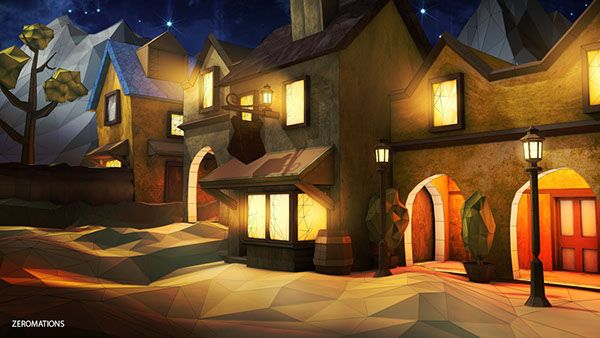 The Lowpoly Street V2 Night On Behance