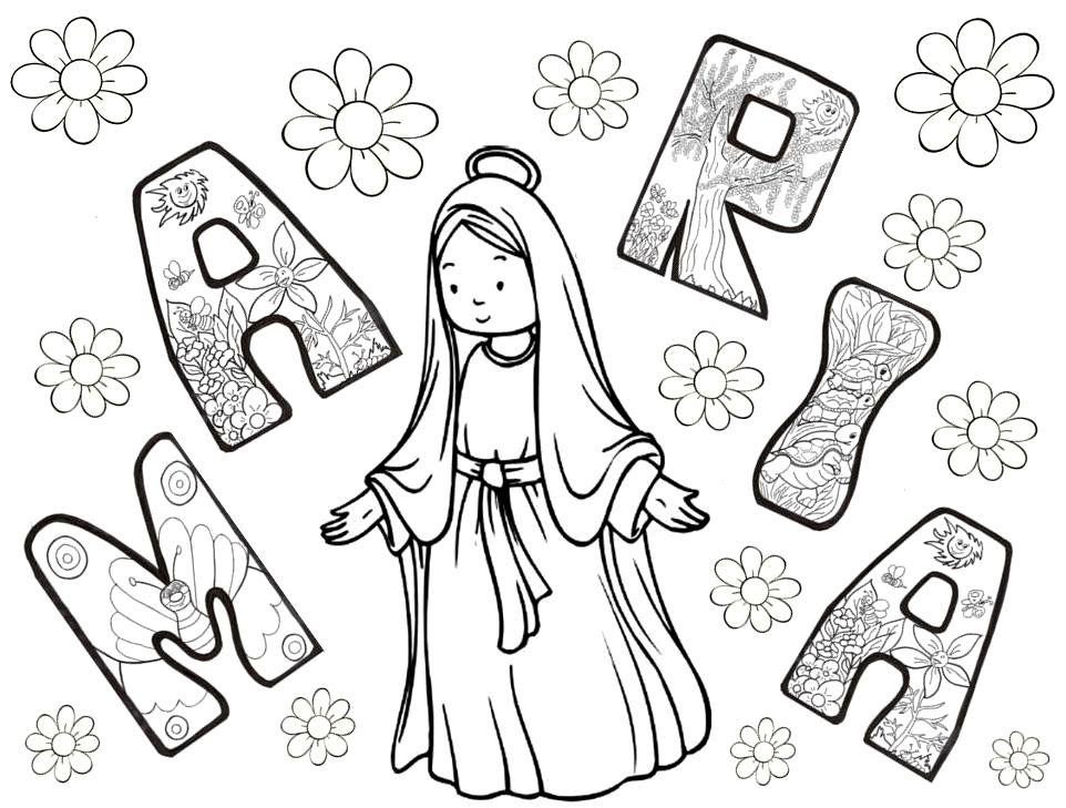 María Mes De Mayo Dibujos Biblicos Educación Religiosa Virgen