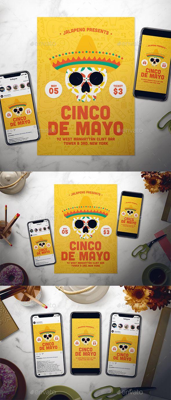 Cinco De Mayo Flyer Set. Fully editable professional Cinco de Mayo flyer template. #5May #celebration #cinco #CincoDeMayo #coco #DayOfTheDead #de #DiaDeLosMuertos #DiaDeMuertos #festival #flyer #instagram #InstagramStory #InstagramTemplate #latin #may #mayo #mexican #mexico #party #poster #skull #sombrero #story #SugarSkull #tradition