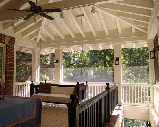 Want To Incorporate Swing On To Back Porch Like The Lantern Lights But Want Recessed Lighting In Ceiling Traditional Porch Porch Design Rustic Porch