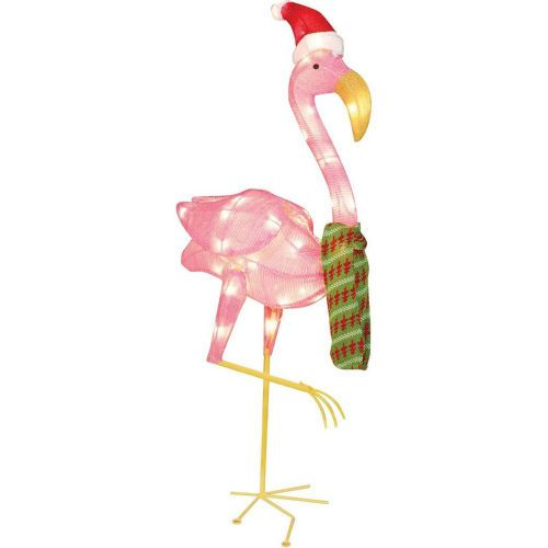 the outdoor christmas flamingo pre lighted decoration serves as a festive piece of decoration for your keep this christmas light sculpture securely in - Christmas Flamingos Yard Decorations