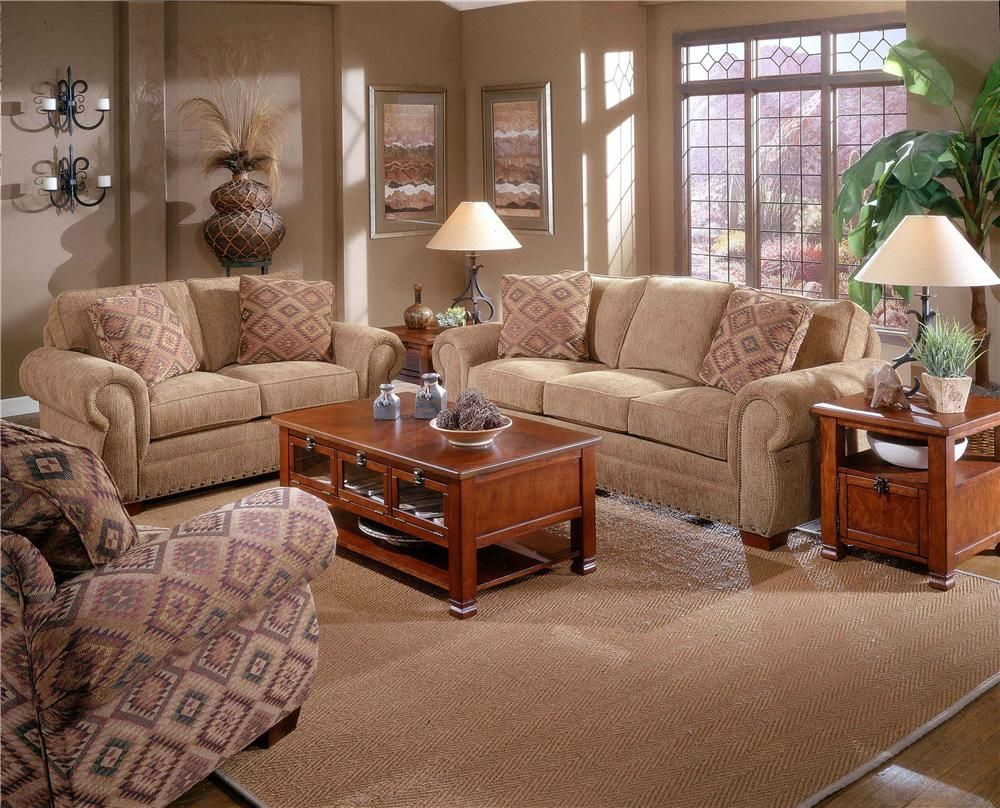 5054 Cambridge Casual Style Loveseat With Nail Head Trim By Broyhill