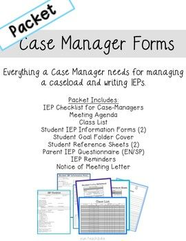 IEP Case Manager Forms Full Packet | IEP Resources | Iep meetings