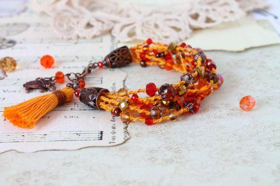 Kleurrijke Boho armband oranje rode kralen armband door byHamelin