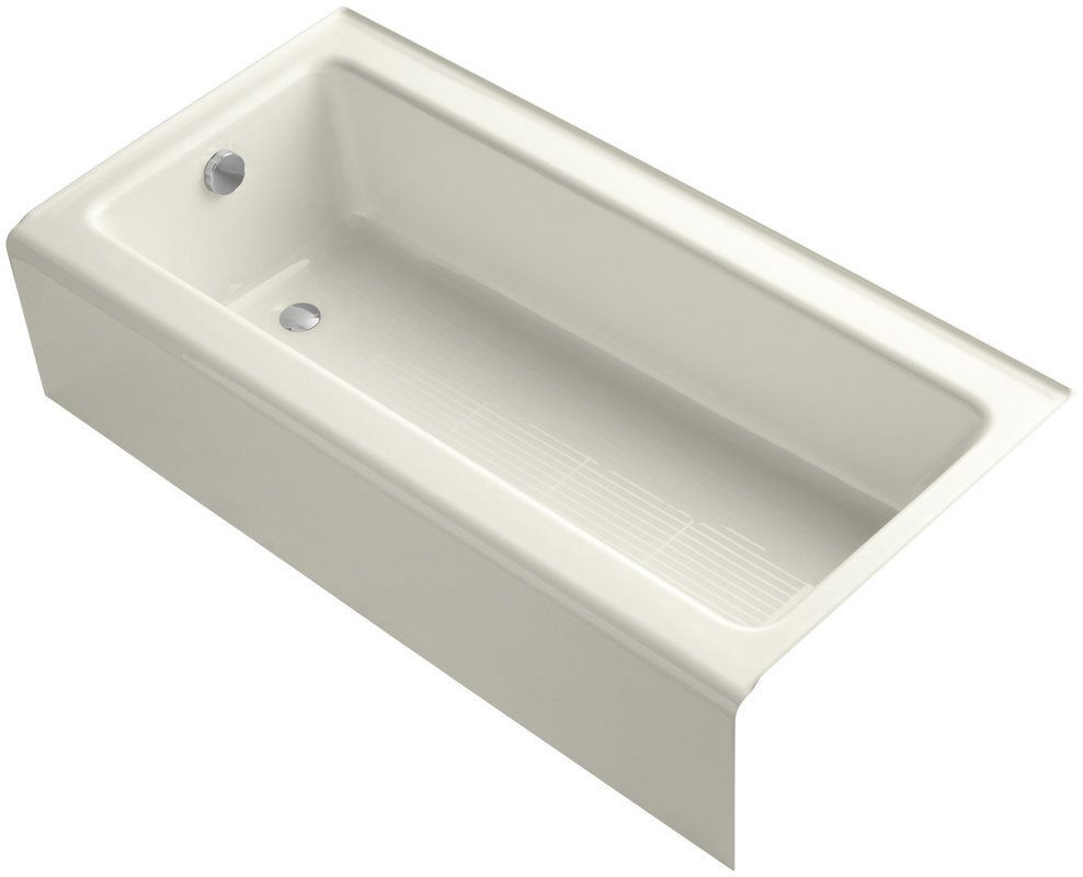 """Kohler K-837 Bellwether 60"""" Alcove Soaking Tub with Left Drain Biscuit Tub Soaking Alcove"""