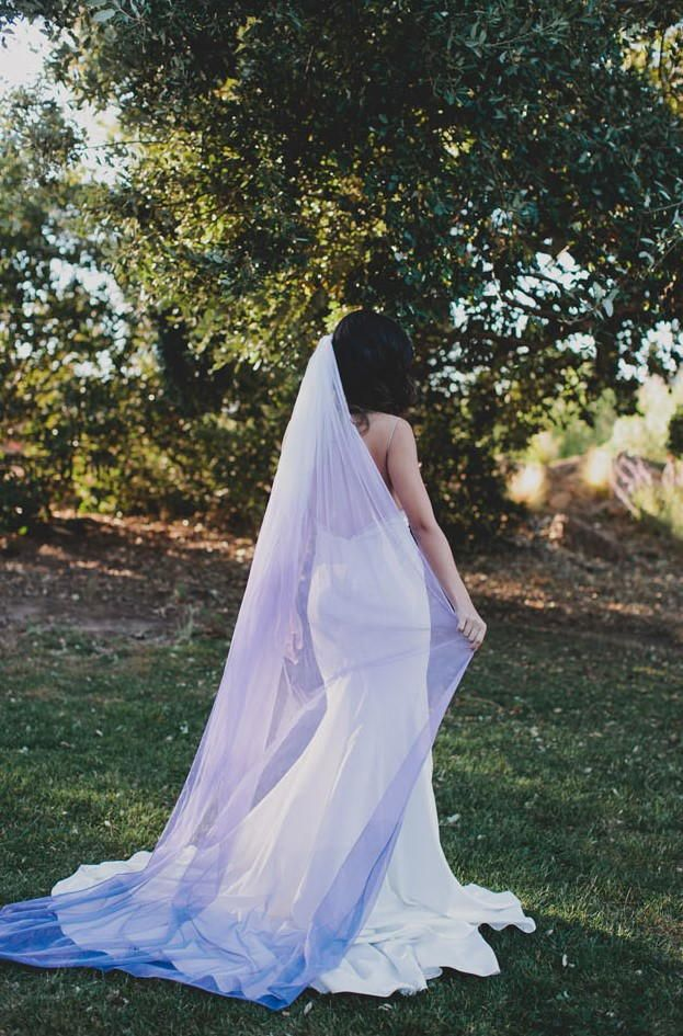 Diy Ultra Violet Veil Ombre Wedding Dress Wedding Dress With