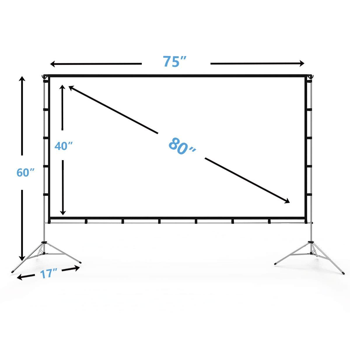 Vamvo Outdoor Indoor Projector Screen With Stand Foldable Portable Movie Screen 80 Inch 16 9 Fullset Bag For Home Home Theater Projector Screen Indoor Outdoor