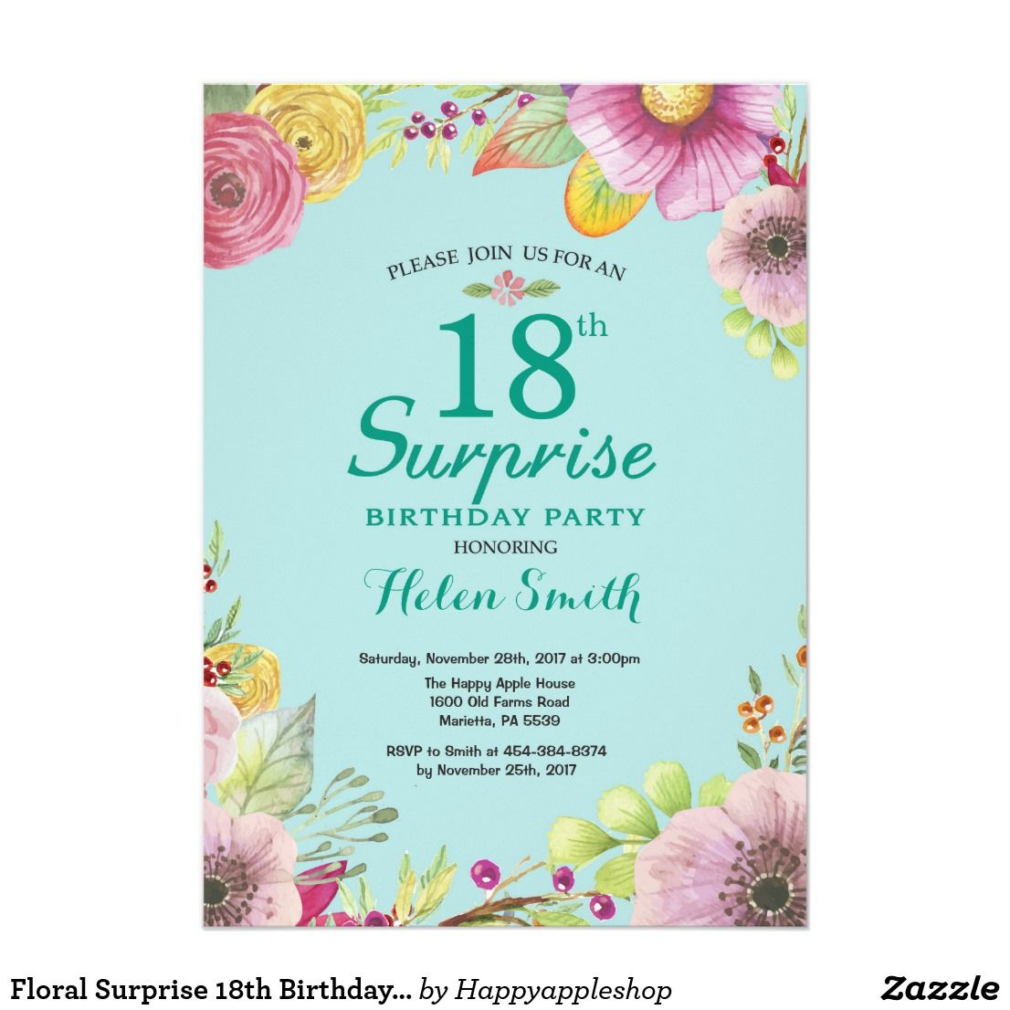 Floral Surprise 18th Birthday Invitation Teal For Women Watercolor Aqua Turquoise Background