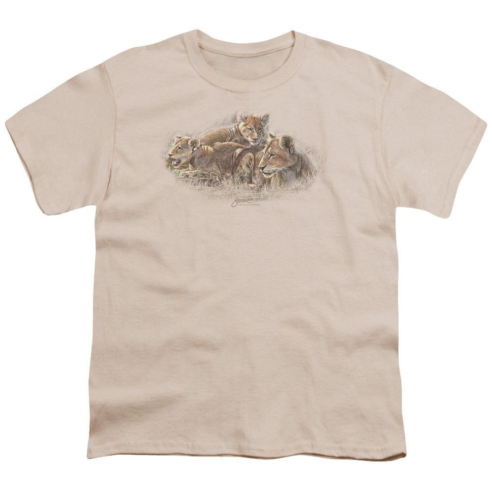 WILDLIFE/LION CUBS-S/S YOUTH 18/1-CREAM/IVORY