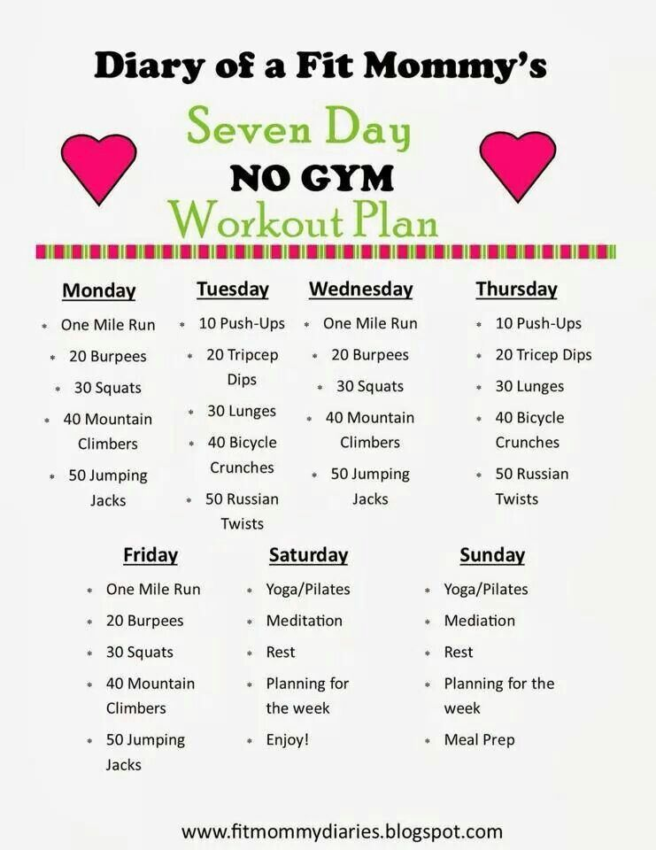 No gym weekly workout plan Health  Fitness Pinterest Gym - weekly workout plan