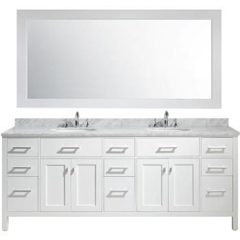 Design Element Dec076 84 London Stanmark 84 Bathroom Vanity Set And Mirror Double Sink Vanity Vanity Sink Marble Vanity Tops