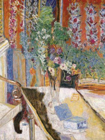 Pierre Bonnard / Intérieur avec des fleurs, 1919