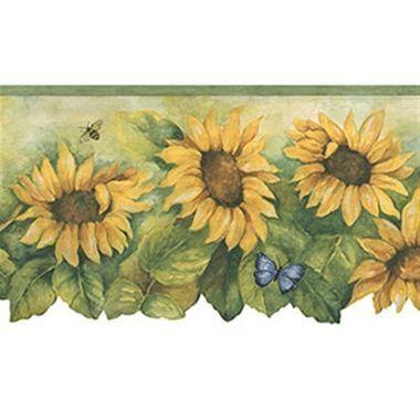 Norwall Bg71361dc Sun After Sun Border With Sunflower And Insects Sunflower Wallpaper Wallpaper Kitchen Wallpaper