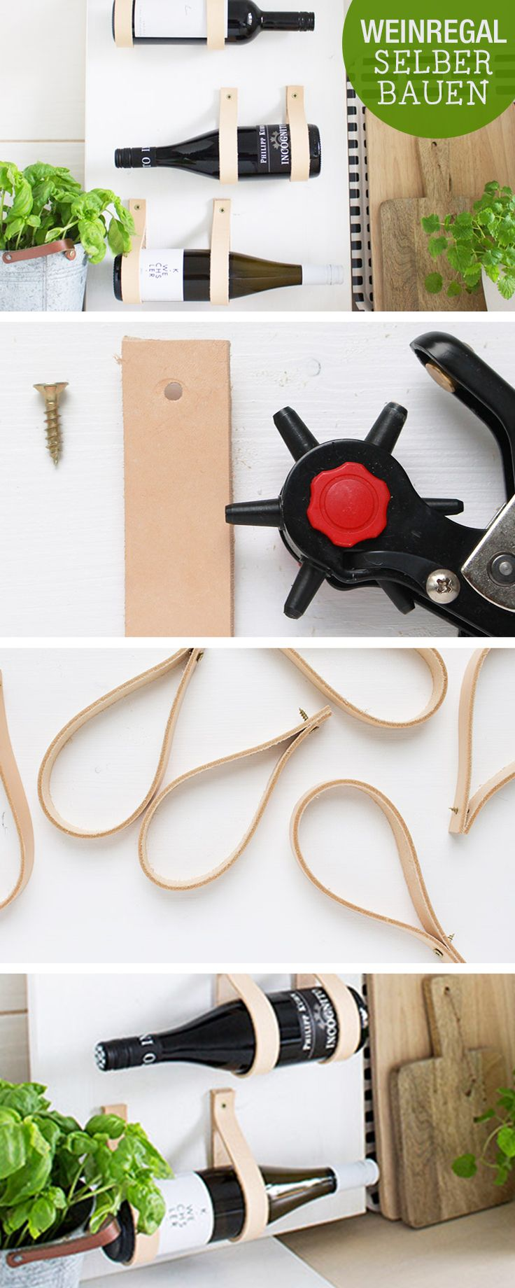 DIY-Anleitung: Weinregal mit Lederbändern selber bauen / diy tutorial: wine rack with leather straps, craft home decor via DaWanda.com
