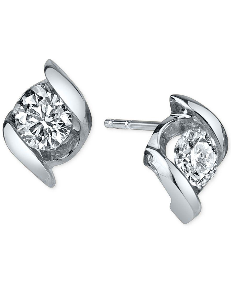 Diamond Twist Stud Earrings 1 4 Ct T W In 14k White Gold 14k White Gold Earrings Stud Earrings Black Hills Gold Jewelry