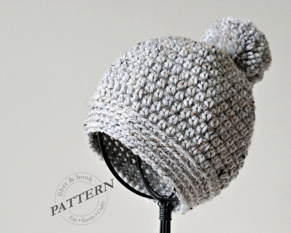 CROCHET PATTERN - Pom-Pom Beanie Crochet Pom-Pom Hat Easy Crochet ...