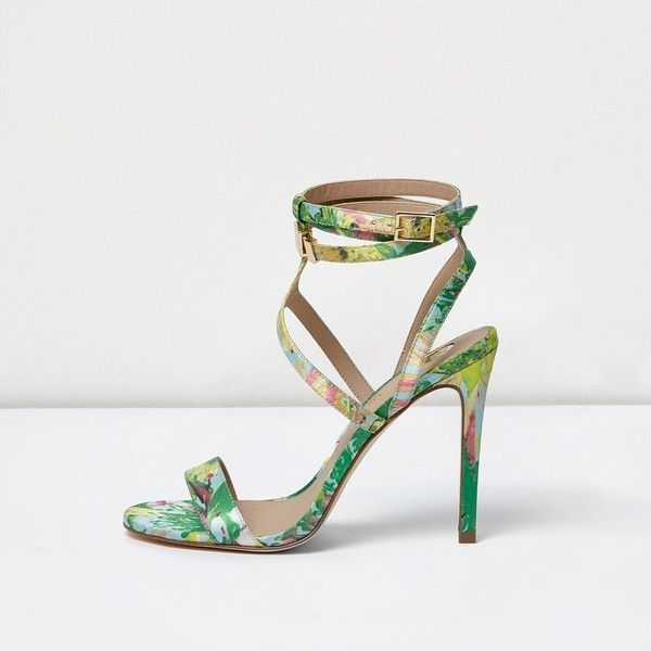 e4ffc885964 River Island Green floral print caged strappy sandals ($80) ❤ liked ...