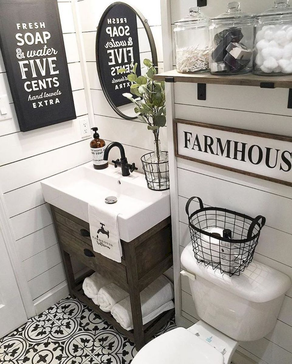110 Spectacular Farmhouse Bathroom Decor Ideas 21