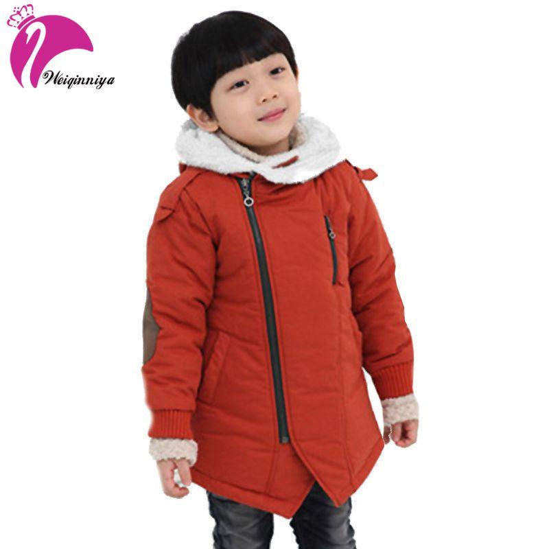75bc5facdf06 Boy Jackets Fashion Add Cotton Cashmere Warm Hooded Kids Thick Fur ...