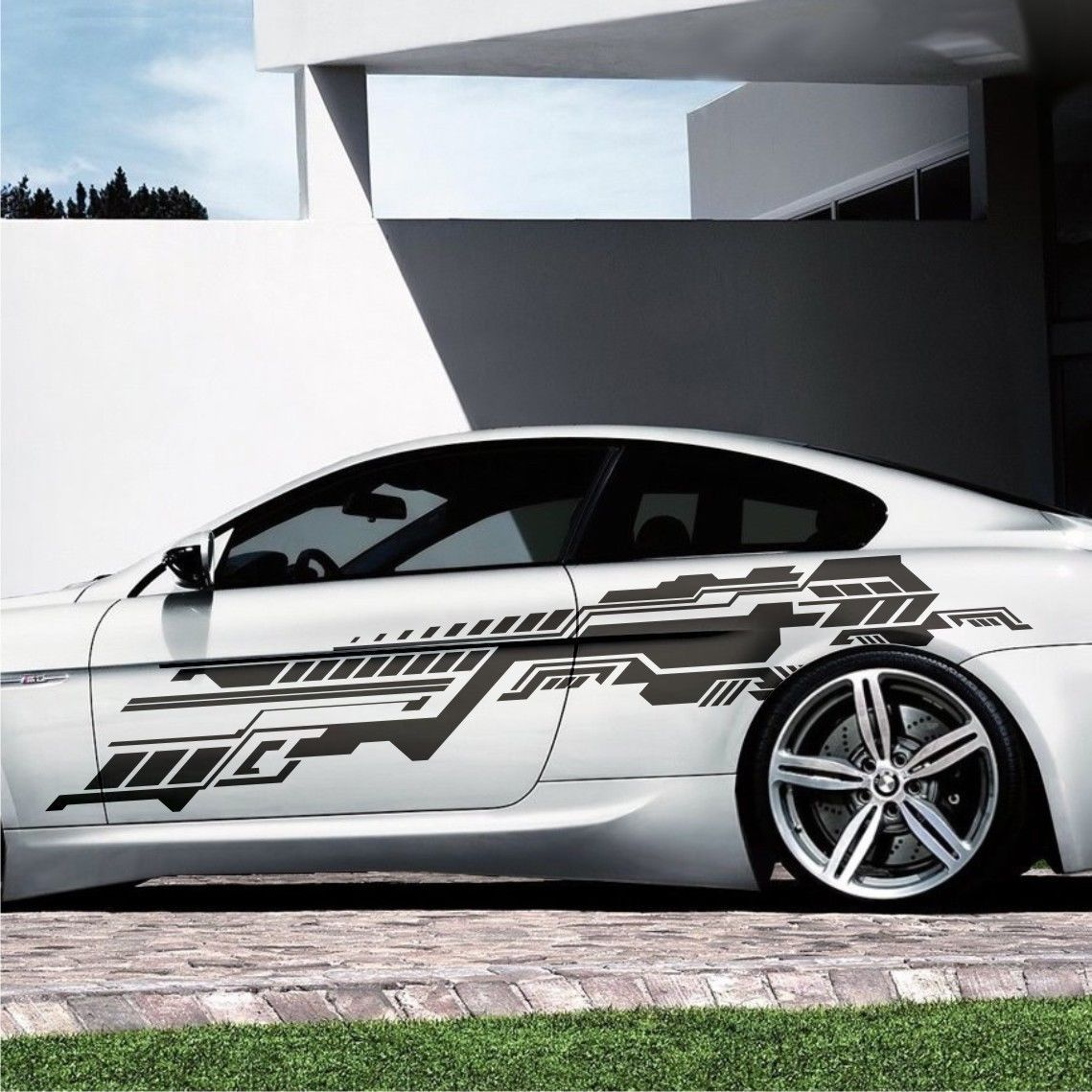 2x Future Design Grafik Seitenaufkleber 230cm Auto Aufkleber
