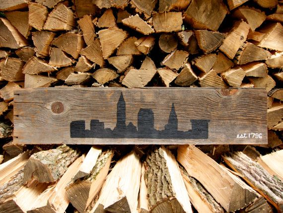 Cleveland Skyline Sign from Reclaimed Wood by MyFiresideMuse - Cleveland Skyline Sign From Reclaimed Wood By MyFiresideMuse
