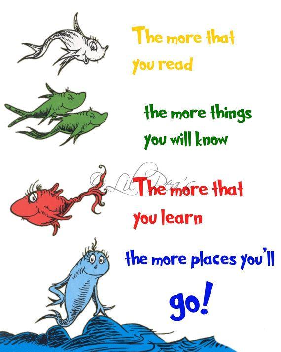 Dr Seuss Decor Prints Quotes Daycare Playroom Book Theme Nursery